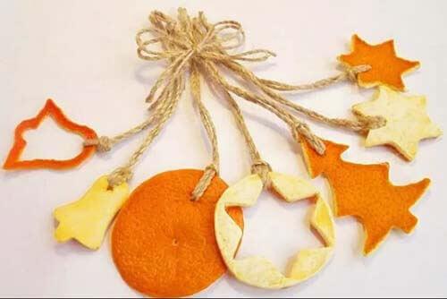Елочные украшения из апельсиновой кожуры