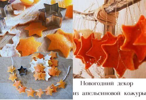 Как нанизывать фигурки из апельсиновой кожуры для гирлянды