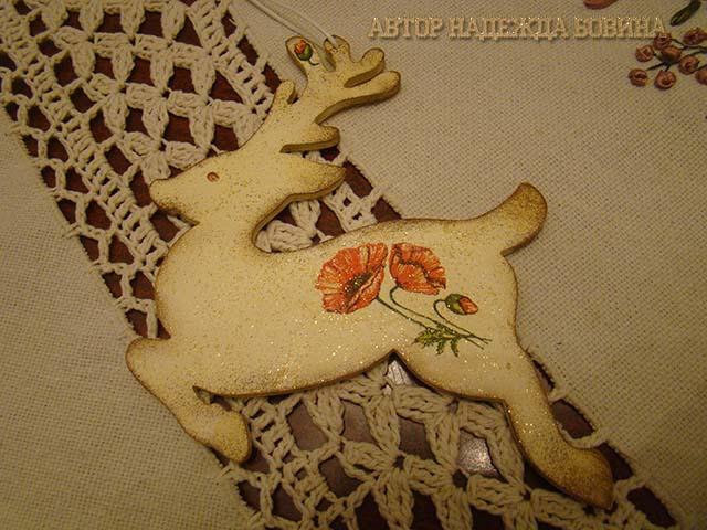 Фигурка леня - готовая елочная игрушка с стиле шебби-шик декупаж