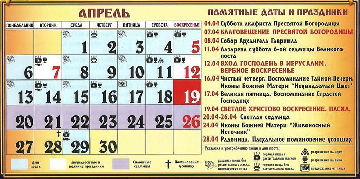 православный календарь на апрель 2020 года